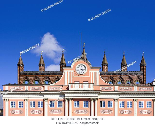 Upper facade of the town hall of the Hanseatic City of Rostock, Mecklenburg-Pomerania, Germany