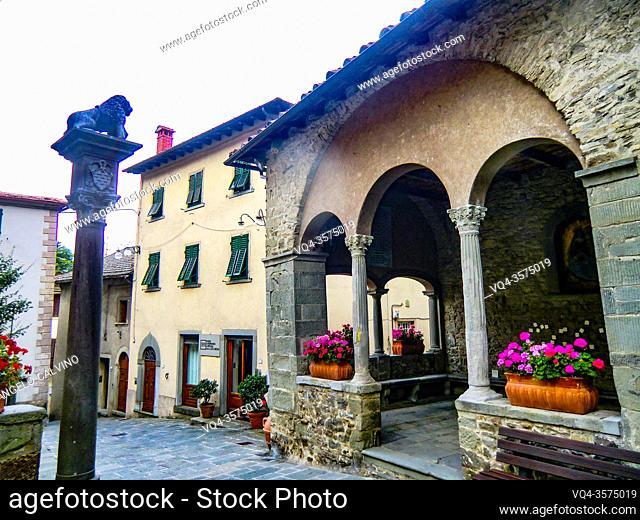 La Piccola Loggia in front of Palazzo dei Capitani della Montagna, XV Century, where Il Capitano amministered the local justice, Cutigliano, , Pistoia, Abetone