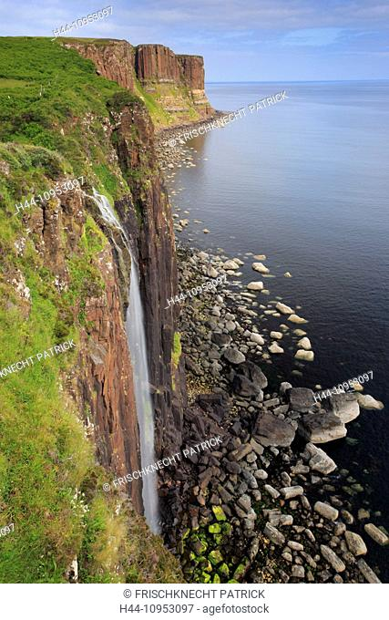 Cliff, rock, cliff, water, Great Britain, Europe, island, Isle of Skye, kilt rock, kilt rock, Waterfall, cliff, cliffs, coast, scenery, sea, nature, panorama