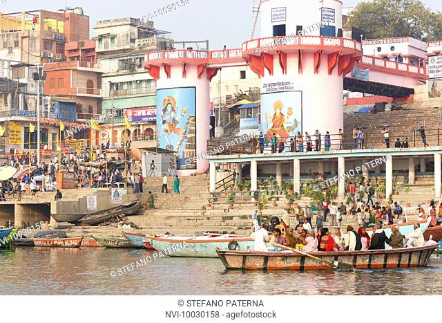 Pilgrims at the Ghats on the Ganges, Varanasi, Uttar Pradesh, India