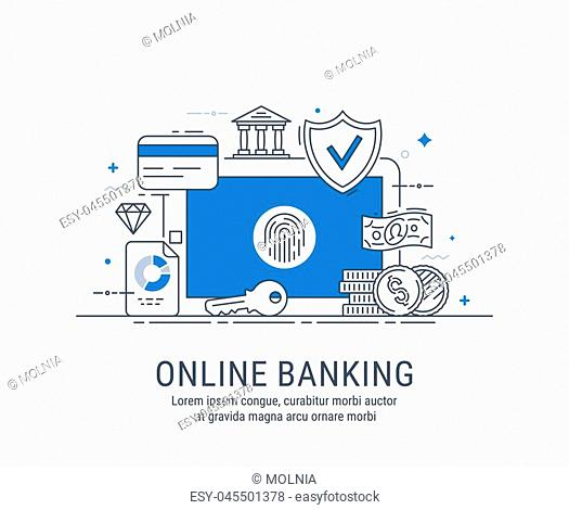 Online banking, security payments, transactions, investments and deposits, advanced information technology. Modern thin line vector illustration