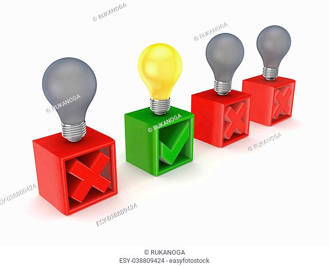 Best idea concept.Isolated on white background.3d rendered