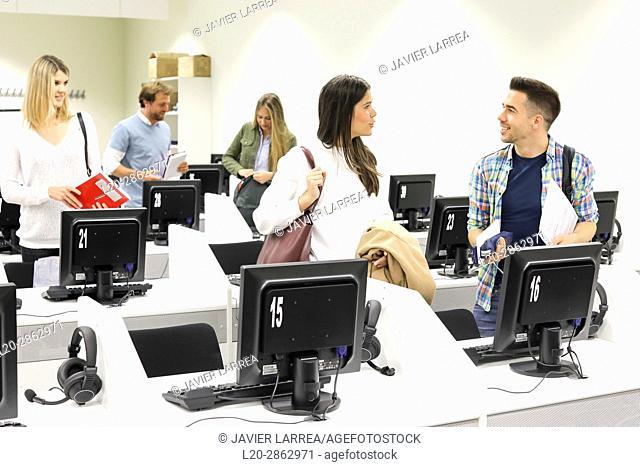 Students in language laboratory, Language training classroom, University of the Basque Country, Donostia, San Sebastian, Gipuzkoa, Spain