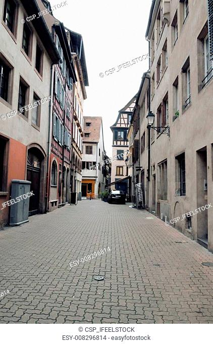 Idyllic street with old alsacian houses in Strasbourg