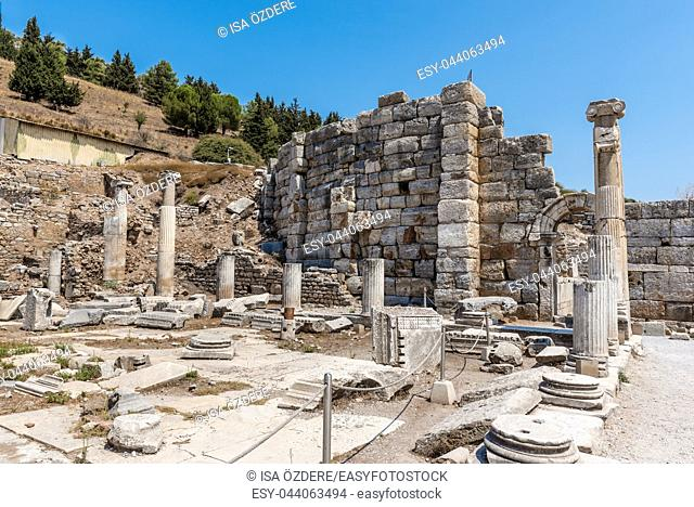Prytaneion at ancient ruins at Ephesus historical ancient city, in Selcuk, Izmir, Turkey