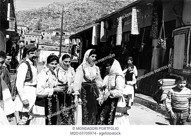 People wearing Sardinian traditional clothes. Sardinia, 1970s