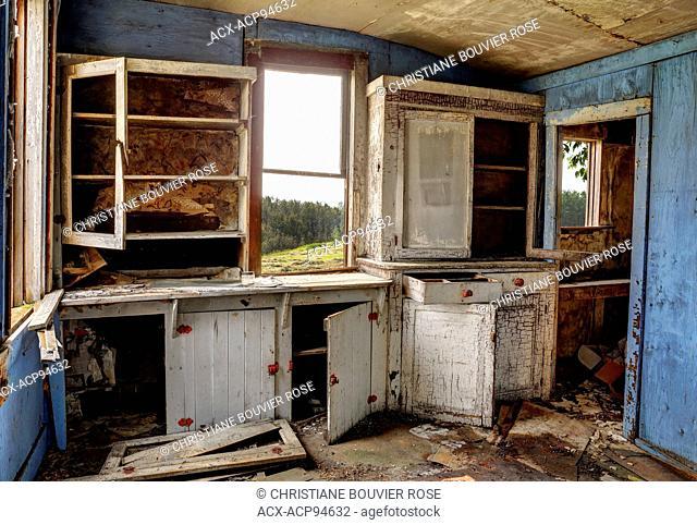 Derelict interior of an abondoned house in rural Saskatchewan, Canada
