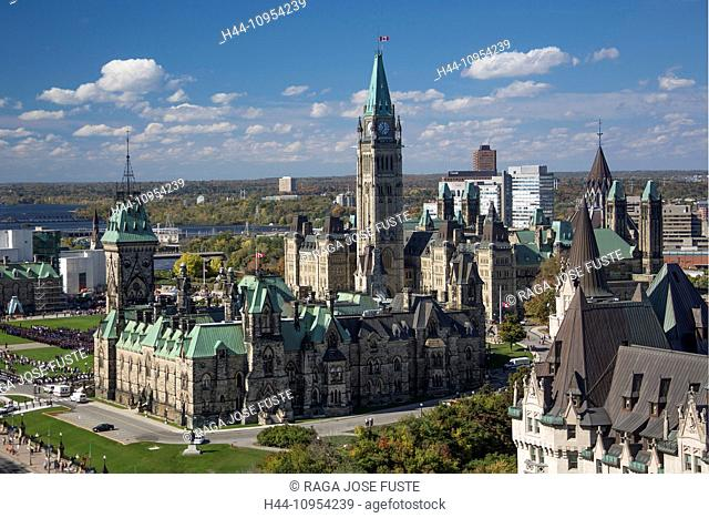 Canada, North America, Ottawa, Parliament Hill, architecture, city, colourful, downtown, landscape, parliament, skyline, touristic, towers, travel, buildings
