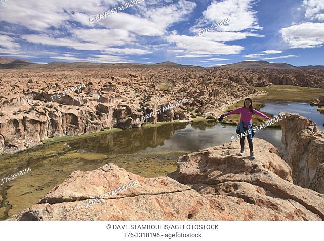 Top of the world, magical hidden Laguna Negra Valley in the Salar de Uyuni, Bolivia