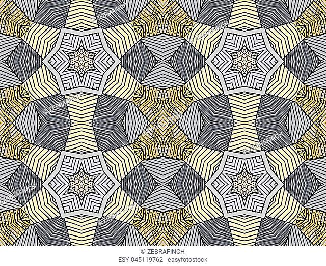 Seamless striped vector pattern. Vintage colored decorative repainting background with tribal and ethnic motifs. Abstract geometric roughly hatched shapes...