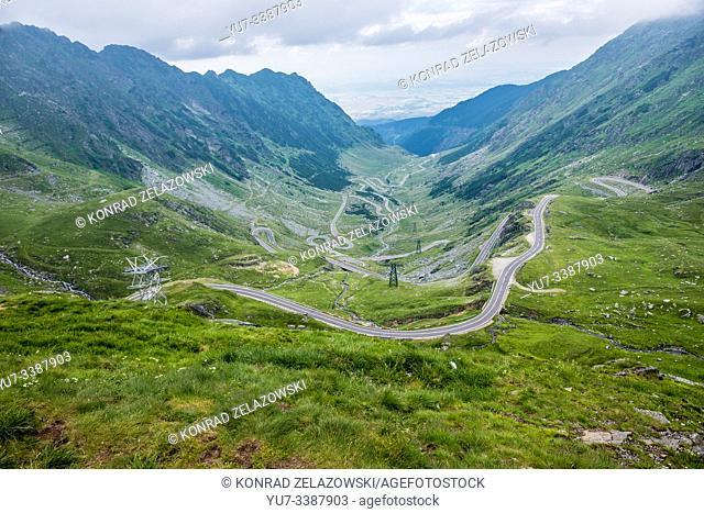 Aerial view from viewpoint of Balea Lake area on harpin turns of Transfagarasan Road in Fagaras Mountains (part of Carpathian Mountains), Romania