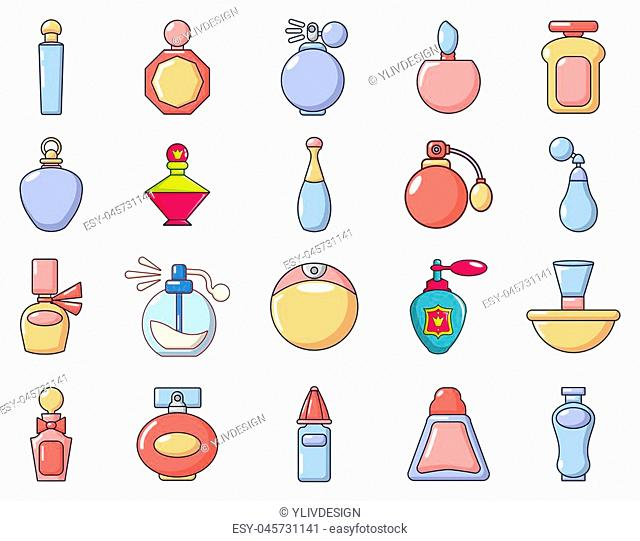 Perfume icon set. Cartoon set of perfume icons for web design isolated on white background