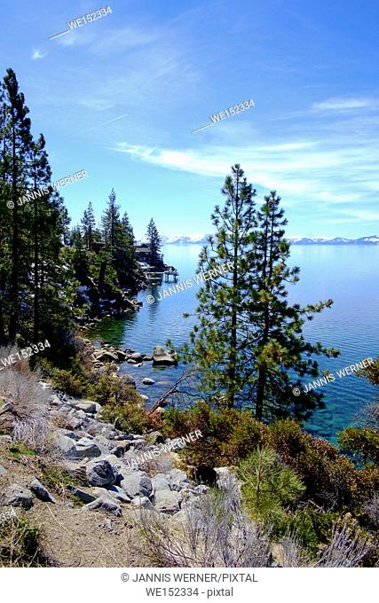 View of beautiful calm Lake Tahoe in March