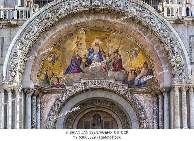 The Risen Christ mosaic over the entry to Basilica di San Marco, Piazza San Marco, Venice, Veneto, Italy