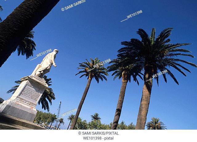 Statue of Napolean Bonaparte in Saint Nicholas square, Bastia, Corsica, France