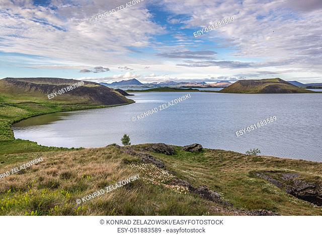 Skutustadagigar pseudocraters area located on the remaining wetlands of the Lake Myvatn in Iceland
