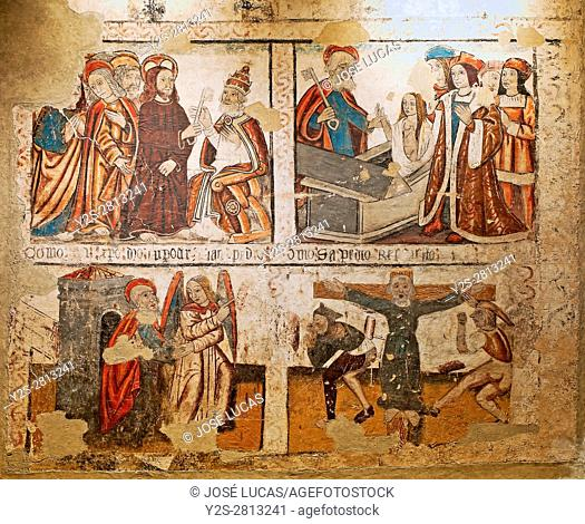 The life of San Pedro - fresco paintings of the 15th century, Cathedral, Mondoñedo, Lugo province, Region of Galicia, Spain, Europe