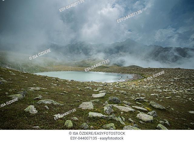 Glacial lake on the top of the Kackar Mountains or simply Kackars, in Turkish Kackar Daglari or Kackarlar. A popular place for hiking and camping every season