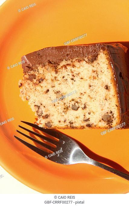 Piece of chocolate and walnuts cake, São Paulo, Brazil