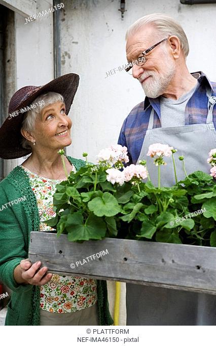 An elderly Scandinavian couple holding a flower box Sweden