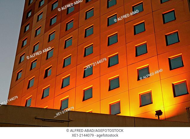 Windows at sunset, Hotel Ibis Can Drago, Barcelona, Catalonia, Spain