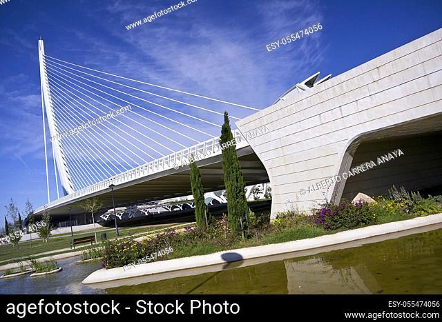 Assut d'or Bridge and Turia Park, City of Arts and Sciences, Valencia Comunity, Valencia, Spain, Europe