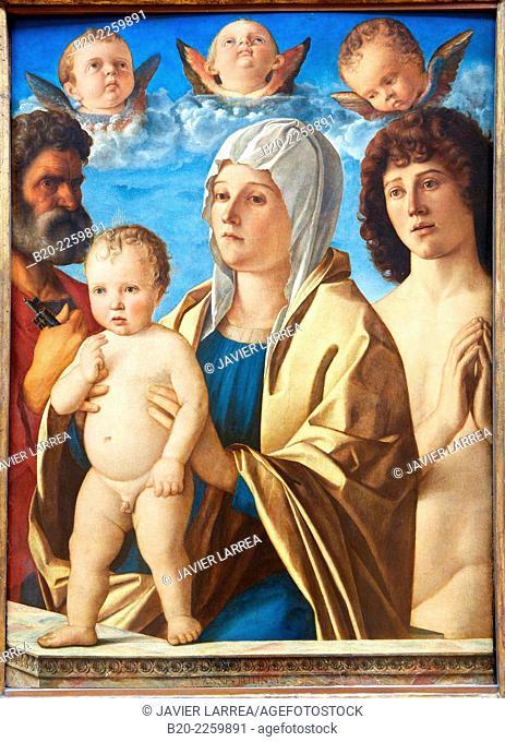 La Vierge et l'Enfant entre Saint Pierre et Saint Sébastien. Giovanni Bellini. Louvre Museum. Paris. France