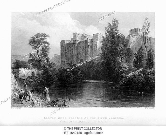 A castle near Tripoli, on the river Kadesha, Libya, 1841. From Syria, the Holy land and Asia Minor, volume II, by John Carne, published by Fisher, Son & Co