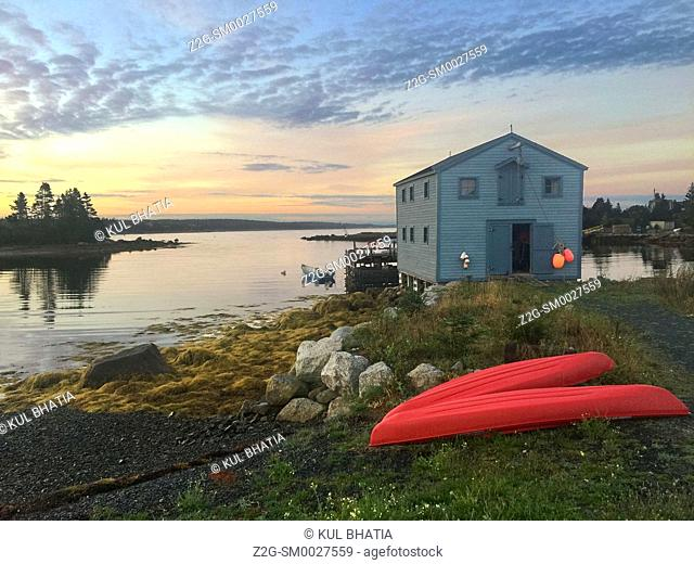 Maritime scene in a cove of the Atlantic ocean, Halifax, Nova Scotia