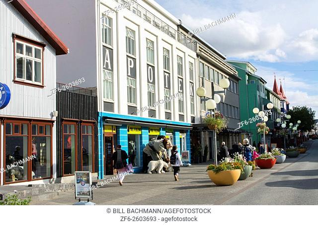 Iceland Akureyri downtown center second largest city walking street Hafnarstraeti Street strolling main street in town