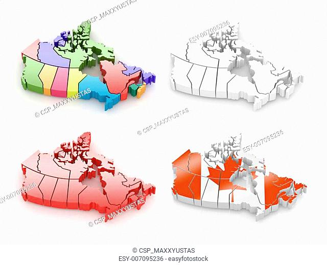 Three-dimensional map of Canada on white isolated background