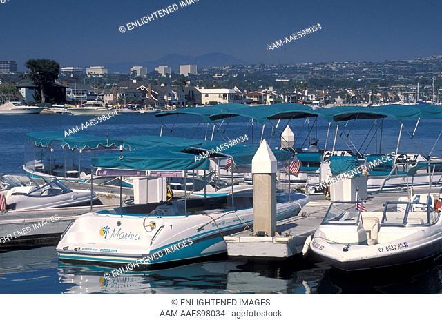 Recreational power motor boats docked at marina, Balboa Island Funzone, Newport Beach, Orange County, California