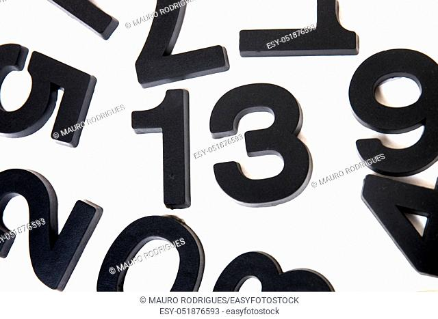 13 number concept isolated on a white background