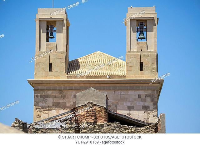 Bell towers on the church at the island of Tabarca Spain