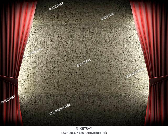 Red velvet curtain and stone wall made in 3d