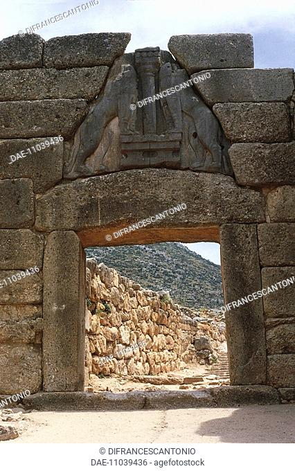 Greece - Peloponnese - Archaeological site of Mycenae (UNESCO World Heritage List, 1999). Lion Gate
