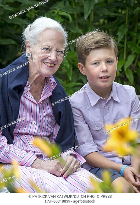 Danish Queen Margarethe and Prince Christian during a photo session during their summer holidays at Grasten Slot, Denmark, 25 July 2015
