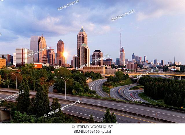 High rise buildings in Atlanta cityscape, Georgia, United States