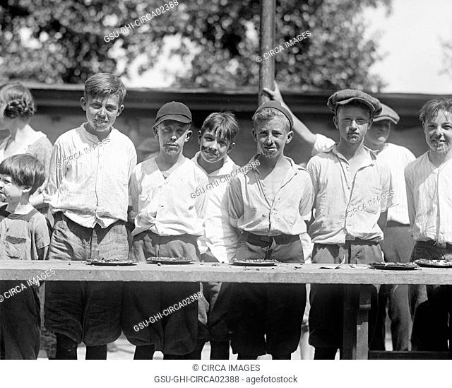 Young Boys after Pie Eating Contest, National Photo Company, August 1923