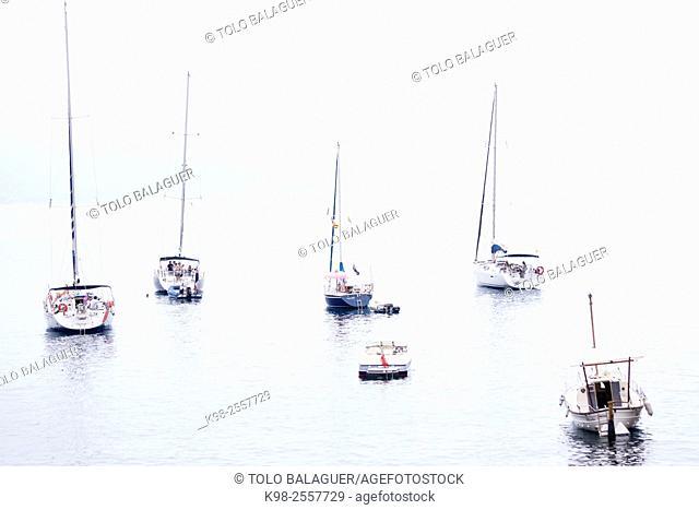 Anchored sailboats at Sa Foradada, Valldemossa, Serra de Tramuntana, natural park, Majorca, Balearic islands, Spain