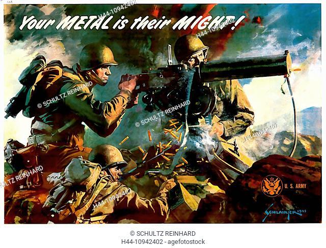 World War II, Second World War, world war, war, poster, Propagana, propaganda poster, USA, American, machine gun, soldier, metal, scrap metal, collection, fight
