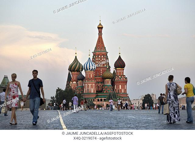 Moscow, Russia-July 20, 2010. Dozens of travelers, walk through Red Square in Moscow and a chance to visit and photograph the cathedral St