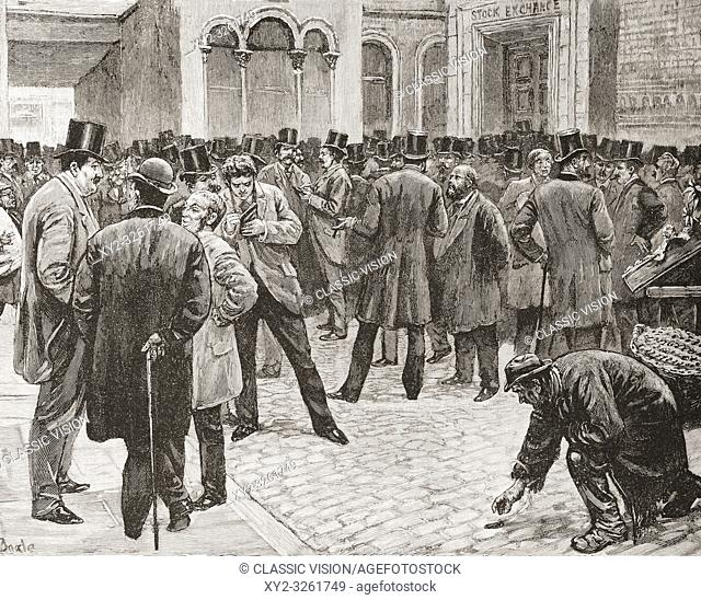 The American market in the London Stock Exchange, London, England, seen here in the 19th century. From La Ilustracion Espanola y Americana, published 1892