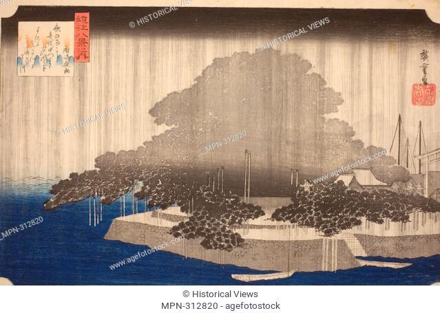 Utagawa Hiroshige. Night Rain at Karasaki (Karasaki no yau), from the series - - Eight Views of Omi (Omi hakkei no uchi) - - - c