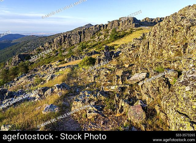 Slate rocks on the way to the Goat Cliff in Sierra Norte. Madrid. Spain. Europe