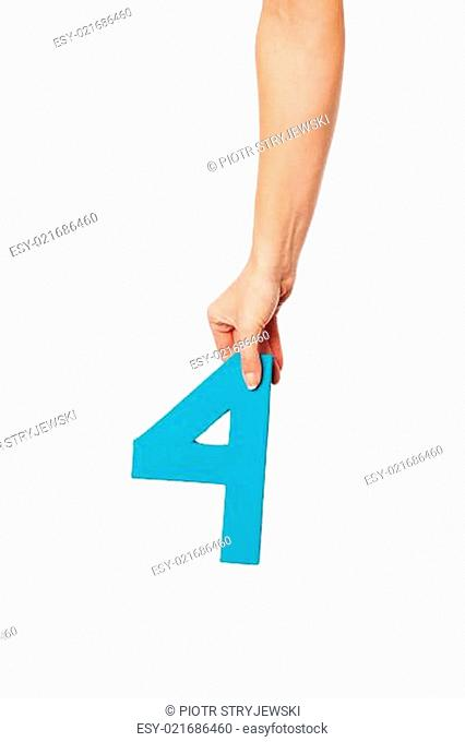 hand holding up the number four from the top
