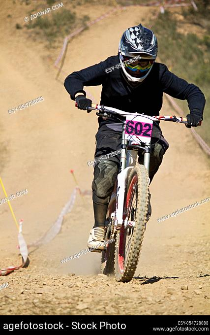 View of a btt downhill bike dirt competition