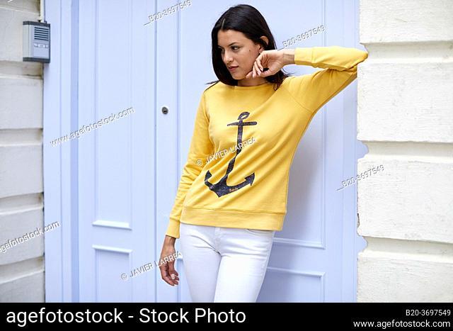 Young woman with sailor sweater, Pasaia, Gipuzkoa, Basque Country, Spain, Europe