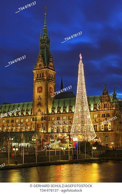 Hamburg Town Hall and Christmas Market, Germany