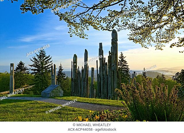 'Kamui Mintara' Playground of the Gods, Japanese Ainu poles erected by Burnaby's sister city Kushiro, Japan, Burnaby Mountain Conservation Area, Burnavy